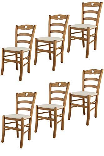 Tommychairs - Set 6 sillas Cuore para Cocina y Comedor, Estructura en Madera de Haya Color Roble y Asiento tapizado en Tejido Color Marfil