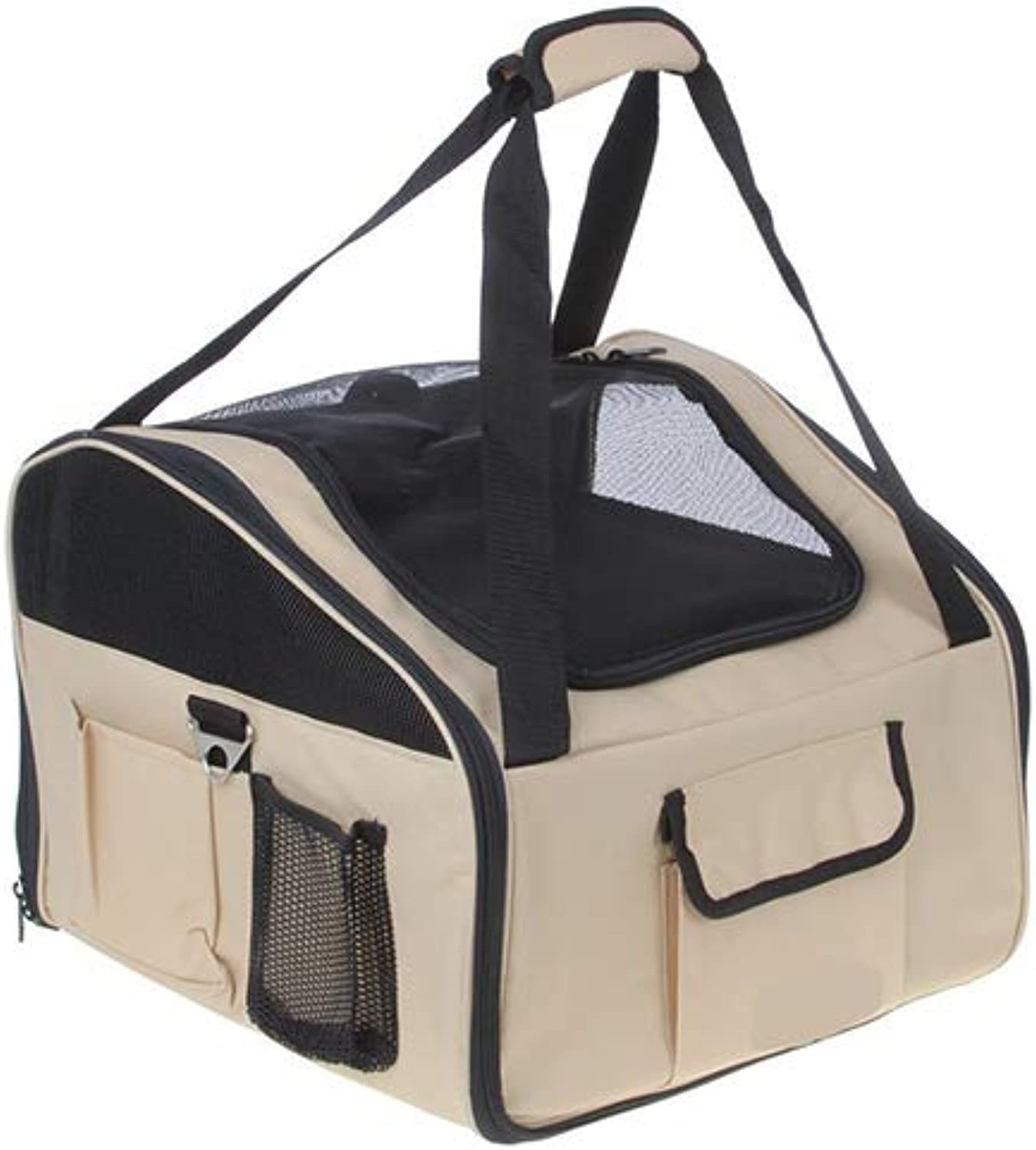 Beige Pet Car Carrying Backpack Lightweight Fabric Pet Carrier Crate Portable Easy Foldable Car Travelbackpack for Dog Cat