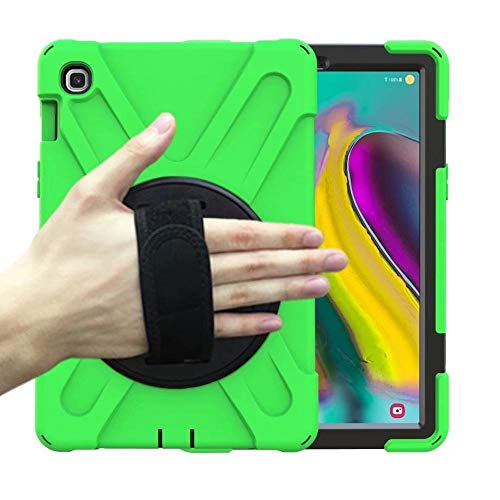 GHC PAD Cases & Covers For Samsung Galaxy Tab S5E 10.5 T720 T725 2019, Heavy Duty Case 360 Rotating Hand Strap Kids Shockproof Cover for Samsung T720 (Color : Green)