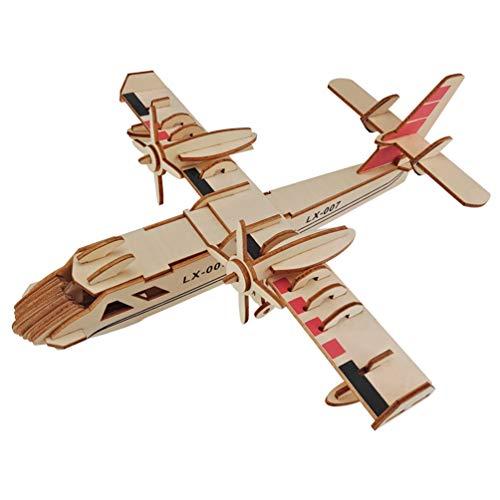 HEALLILY Kit de Artesanía de Ensamblaje de Rompecabezas de Madera 3D Modelo de Avión de Madera Kit Educativo de Artesanía en Madera Juguete para Niños Adultos Bombardero