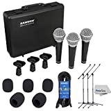 Samson R21 - Dynamic Vocal/Presentation Microphone 3-Pack For live Performance and recording + Lightweight Boom Mic Stand + 18' Mic Cable (3 pack) + 5 Mic Windscreens & Clean Cloth