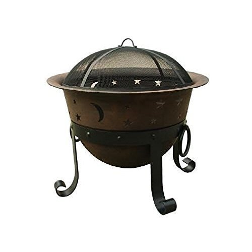 29-Inch Heavy Duty Large Wood Fire Pit Cast Iron Fire Pit with Spark Screen by Catalina Creations