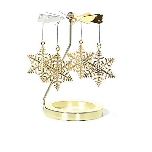 WUHUAROU Snowflake Rotary Candleholder Teelichthalter Kerzenhalter Spinning Teelicht Kerze Metall Teelicht Halter Karussell Wohnkultur Geschenk Rotierender Kerzenhalter Aus Metall Gold
