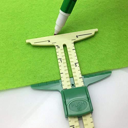 En Forma De T De Deslizamiento De Costura Medidor De Medición 5-en-1 Herramienta Regla De Coser Botones De Marcado Margen De Costura De Agujeros Gauge Herramienta De Medición Remiendo De Costura De La