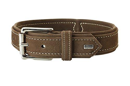 HUNTER HUNTING Hundehalsband, Leder, Nubuk, robust, weich, 55 (M), braun