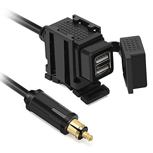 Meipire - Adaptador USB para Motocicleta (12 V/24 V, 5 V/2,1 A y 1 A, Cargador Impermeable USB para teléfono Celular/navegador/Walkie Talkie)