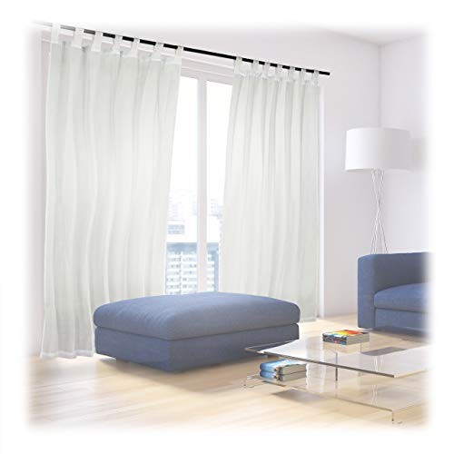 Relaxdays Vorhänge mit Schlaufen, 2er-Set, Voile, halbtransparente Gardinen, einfarbig, Polyester HxB 245x140 cm, creme