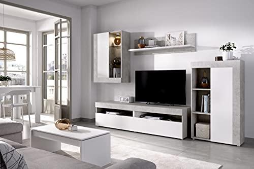 Rimobel Tokio Salón TV Modular, Tableros de partículas, Blanco, Cemento