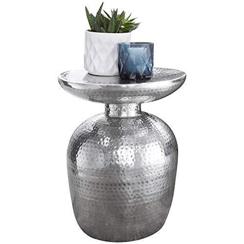 FineBuy Design Beistelltisch Delia 36,5 x 46 x 36,5 cm Aluminium Silber Dekotisch orientalisch rund | Designer Ablagetisch Metall modern | Anstelltisch schmal | Kleiner Hammerschlag Abstelltisch
