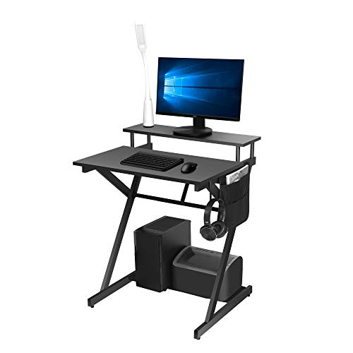 Computer Office Desk for Home Working, Gaming PC Table Workstations with LED Light for Small Spaces, Black Z-shaped Furniture with Hook and Storage Bag 70 * 60 * 84 cm