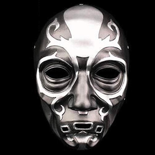 BENREN Máscara Temática de Grim Reaper de Halloween, Máscaras de Resina en Relieve Death Eaters,Silver