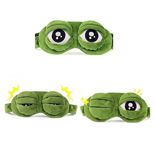 HWYJ Cozy 3D-Frosch Schlafende Maske Eyeshade Plüsch-Augenabdeckung Reise Cartoon Eischade für Eye Travel Entspannung Schlafendes Geschenk Blindfold