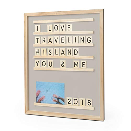 Balvi Tableau avec Lettres et Photos Memories Couleur Taupe 46x37 cm 79 pièces Bois 46x37cm