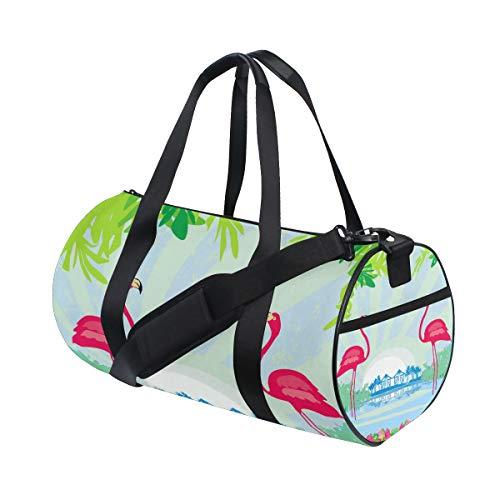 TIZORAX Green Palms And Pink Flamingo Gym Duffle Bag Drum Tote Fitness Travel Bag Rooftop Rack Bag