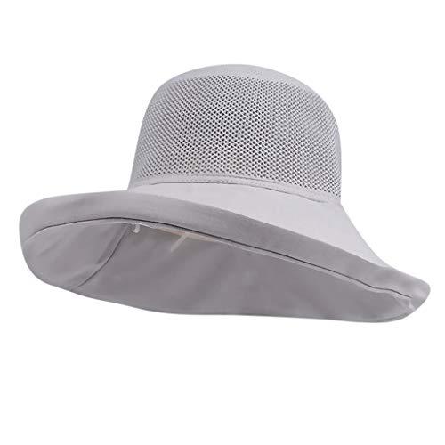DOLDOA Hut Damen Sommer,Damen-Frauen-beiläufiger Fester breiter geströmter Diskette Faltbarer Strand-Hut (Grau)