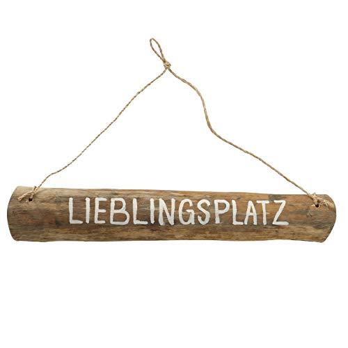 ReWu Treibholz Holzschilder mit dem Spruch Lieblingsplatz im Shabby Landhaus Vintage Stil