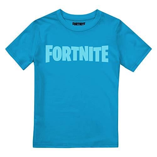 Fortnite Logo Camiseta, Azul Azure, 12-14 Años para Niños