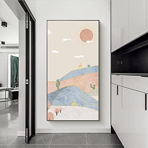 Abstracte Landschap Grote Foto's voor Woonkamer Canvas Muur Art Boho, Herten Foto's voor Hal Kantoor Muur Decor Nordic…