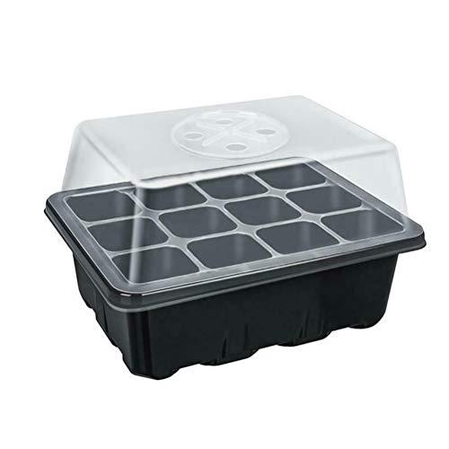 Bandejas de semilla para semilleros, bandejas de germinación de plantas de 12 agujeros con ventilación, bandejas reutilizables de plástico transparente para iniciar semillas con tapa
