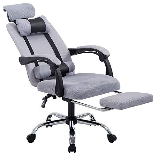 Mesh Game-stoel, ergonomische high-back-office computerstoel met verstelbare hoofdsteun/lendensteun en voetsteun grijs