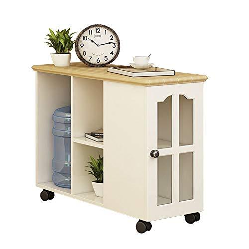Bseack Tabelle Side Cabinet, Diversified Storage Mit Roller Massivholzrahmen Kleine Wohnung Einfache Mobile Kleine Couchtisch/Beistelltisch (größe : 80 * 30 * 62cm)