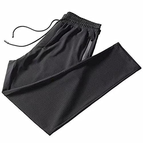 JIYANANDP YDK - Pantalones deportivos para hombre y hombre, color negro, con malla de seda hueca, delgada, suelta, con aire acondicionado, nueve puntos (color: negro, talla: XXL)