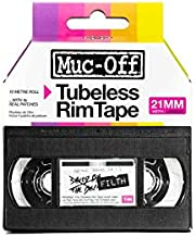 Muc-Off Tubeless Rim Tape, 21mm - Pressure-Sensitive Adhesive Rim Tape For Tubeless Bike Tyre Setups - 10 Metre Roll With 4 Seal Patches