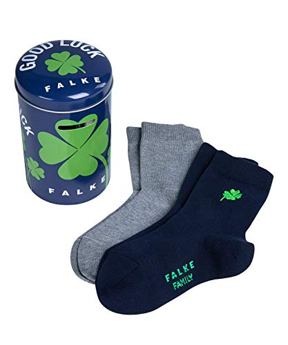 FALKE Kinder Socken Lucky - 94% Baumwolle, 2 Paar, Blau (Navy Blue/Light Grey 20), Größe: 27-30