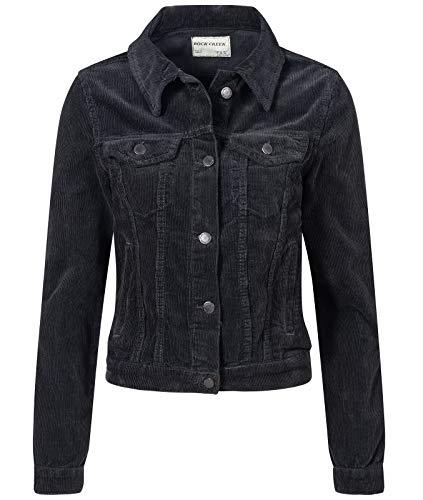 Rock Creek Damen Cordjacke Übergangsjacke Damenjacke Jeansjacke Oversize Vintage Retro Jacken Kurz Frauen Jacke Winterjacke Warm D-432 Schwarz M