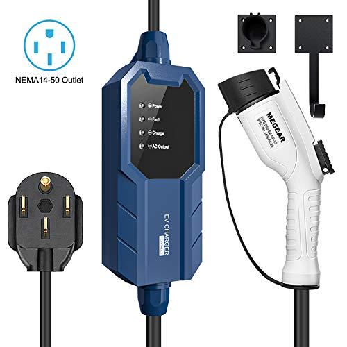 Megear 2021 Gen2 Updated Version Level 2 EV Charger(240V, 16A, 25ft), Portable EVSE Home Electric Vehicle Charging Station (NEMA 14-50 Plug)