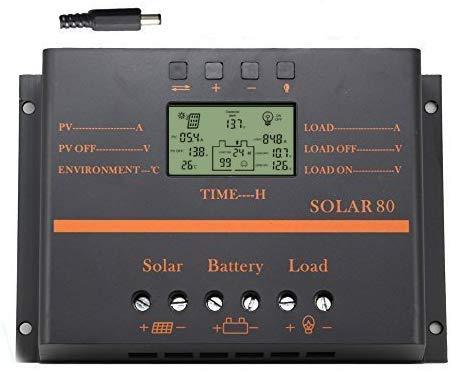 Y&H 80A Solarladeregler 12V/24V Batterieladeregler mit LCD-Anzeige 5V USB-Ladegerät für Mobilgeräte Verbesserter Kühlkörper