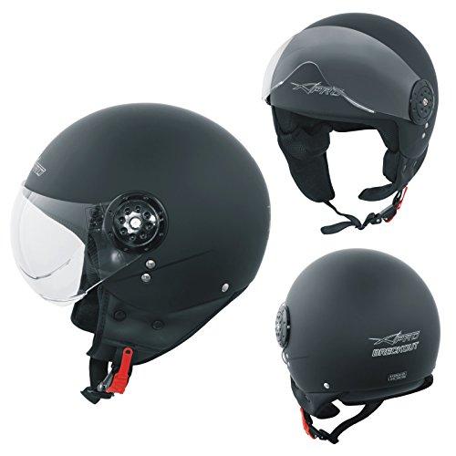 Motorradhelm Motorrad Roller Jet Helm Scooter Homologiert Avio Visor Mattschwarz L