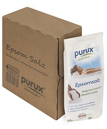 Purux Bittersalz, Magnesiumsulfat, Epsom Salz Badesalz 2,5kg nachhaltig verpackt