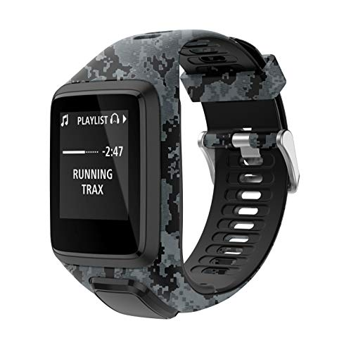 PATROHOO Bands for Tomtom Runner 2/3 Strap,Compatible with Spark 3/Golfer2/Adventurer,Rubber Replacement Band for Screen Protector-GPS Smart Watch Accessories.(Camouflage)