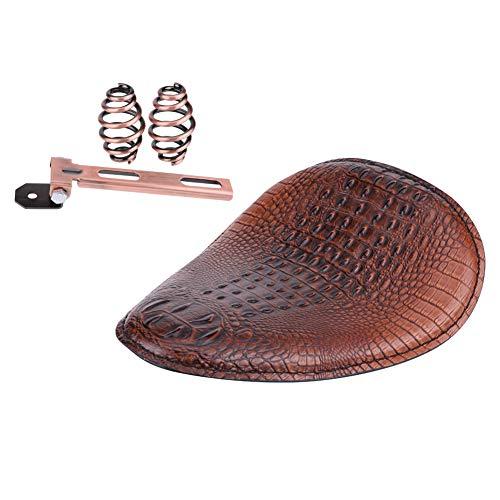 KIMISS Asiento Solo de Cuero Motocicleta, Accesorio de reemplazo de Asiento de Repuesto de Asiento de patrón de cocodrilo Suave para Motocicleta Muelle de Bronce (Marrón)