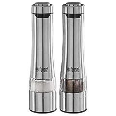 Russell Hobbs Salt and Pepper Mill Zestaw elektryczny, stal nierdzewna, szlifowanie ceramiczne, szlifowanie stopnia regulowane od drobnych do grubych, oświetlenie LED, zasilanie bateryjny, dwie osłony podłogowe, młyny spice 23460-56