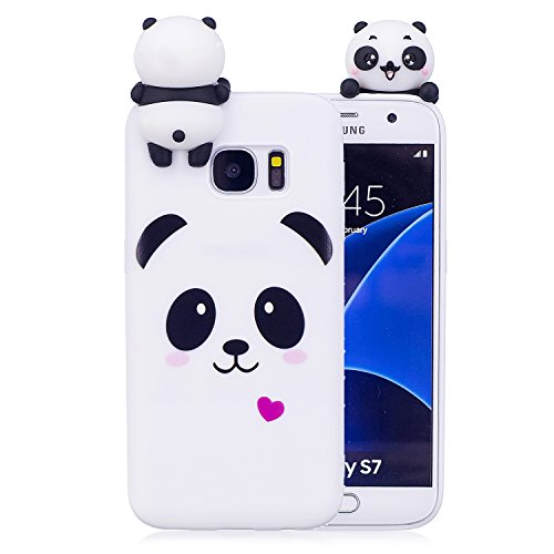 Keteen Cover Samsung Galaxy S7 Edge Custodia, Elegante 3D Carino Animale TPU Silicone Bumper Flessibile Morbido Anti Graffio Protettiva Case Slim Magro Cover per Samsung Galaxy S7 Edge - Panda Bianco