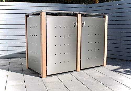 *KIRCHBERGER METALL Mülltonnenbox bis 120 Liter Edelstahl Holzpfosten 2er Box mit Befestigungsset abschließbarer Griff Lärche (Klappdach)*