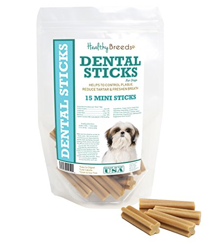Healthy Breeds Dog Dental Stick Treats for Shih Tzu - OVER 200 BREEDS - Veterinarian Formulated to Control Plaque Reduce Tartar & Freshen Breath - 15 Mini Sticks