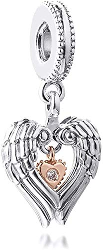 VVHN 2021 Día de San Valentín Regalo Ángel Alas y corazón Dangle 925 Plata DIY Fits Original Pandora Pulseras Charm Moda Joyería