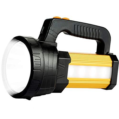 Linterna LED Recargable 15000 Lúmenes, Linternas LED Alta Potencia 3 en 1 10800mAh, IPX4 Impermeable Foco Super Brillante Reflector Portátil, Linterna Gran Alcance con 5 modos de iluminación (Dorado)