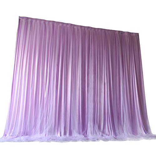 TINTON LIFE 6.6ft x 6.6ft Two Layers Tulle Backdrop Curtains for Party Wedding Baby Shower Birthday Decorations Photography Backdrop Christmas Background Decor Purple