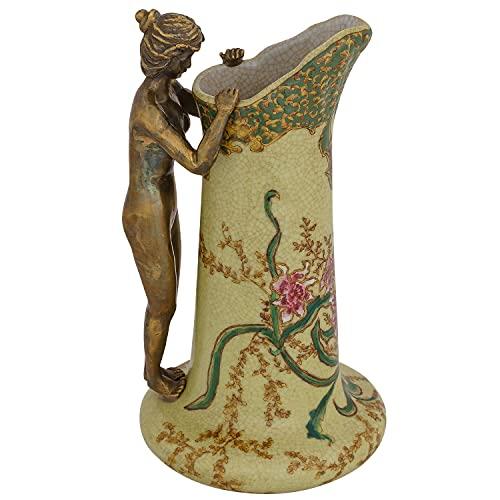 Karaffe Vase aus Porzellan und Bronze im Jugendstil Antik-Stil Skulptur Akt 24cm
