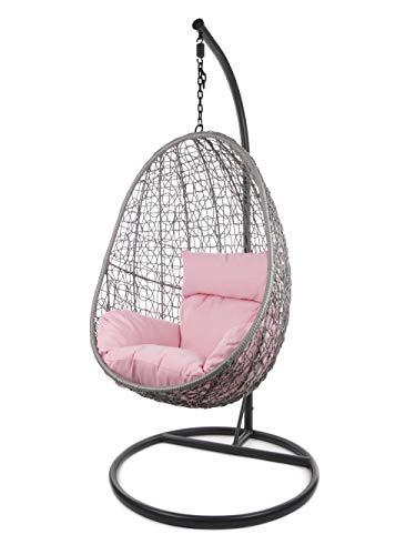 Kideo Komplettset: Hängesessel mit Gestell & Kissen, Indoor & Outdoor, Poly-Rattan (Gestell- und Korbfarbe: grau, Kissen: rosa Nest (3002_Lemonade))
