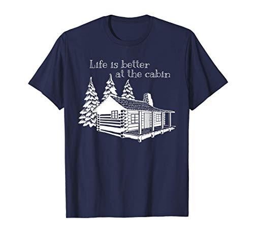 La vida es mejor en la cabaña Cute Print para campistas Camiseta