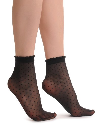 Small Polka Dots And Ro&ed Trim Top Socks Ankle High 15 Den - Schwarz Socken Einheitsgroesse (37-41)