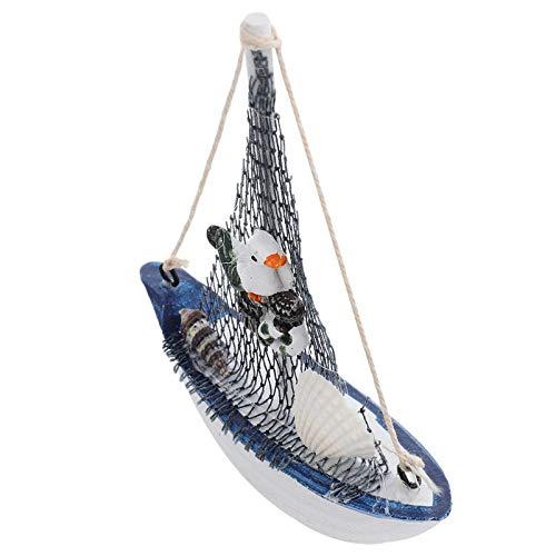 WINOMO Wooden Sailing Boat Model Vintage Nautical Wooden Sailing Ship Decoration with Seabird Figure Boat Beach Coastal Tabletop Ornament Decorative Mediterranean Nautical Gifts