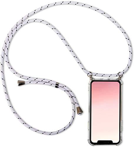 Herbests Kompatibel mit Huawei Honor View 20 Handykette Hülle mit Umhängeband Durchsichtig Necklace Hülle mit Kordel zum Umhängen Schutzhülle Silikon Handyhülle Kordel Schnur Case,Weiß Grau