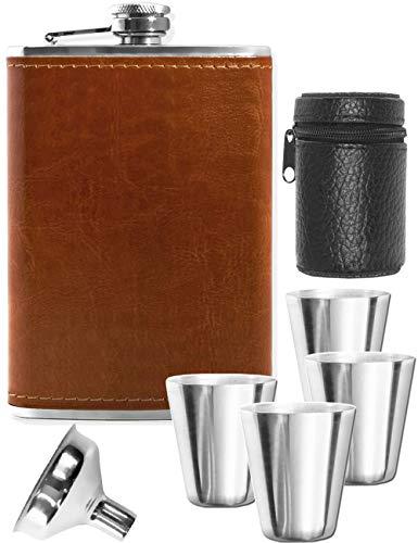 Outdoor Saxx® Flachmann Trinkbecher Set, 240ml Flasche Leder braun + Einfüll-Trichter + 4 Trinkbecher + Tasche - Tolles Geschenk - in Geschenk-Box, 7-Teilig