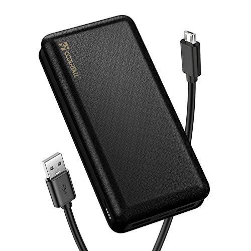 CoolReall Powerbank, Handlicher Externer Akku mit 2 Schnellen Ausgängen (2,0A + 2,0A), Tragbares Ladegerät für Mobiltelefone mit Großer Kapazität für iPhone, Samsung, Huawei, iPad (Schwarz-20000mAh)